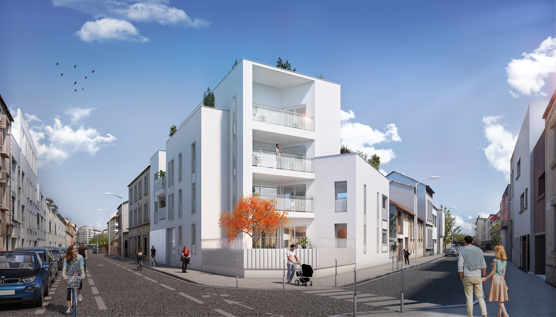 Katrimmo façade programme neuf Orkidée à Montchat rue Bonnand